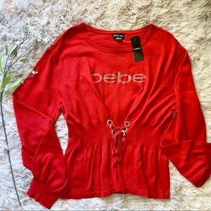 Bebe Long Sleeve Embellished Knit Top